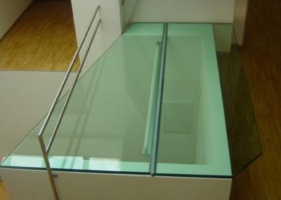 Begehbarer Glasboden.