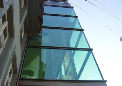 Glasfassade Isolierglas über Eck