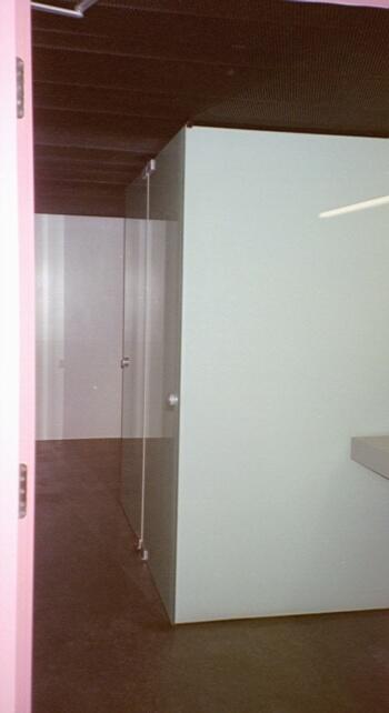 WC Anlage aus VSG extra white
